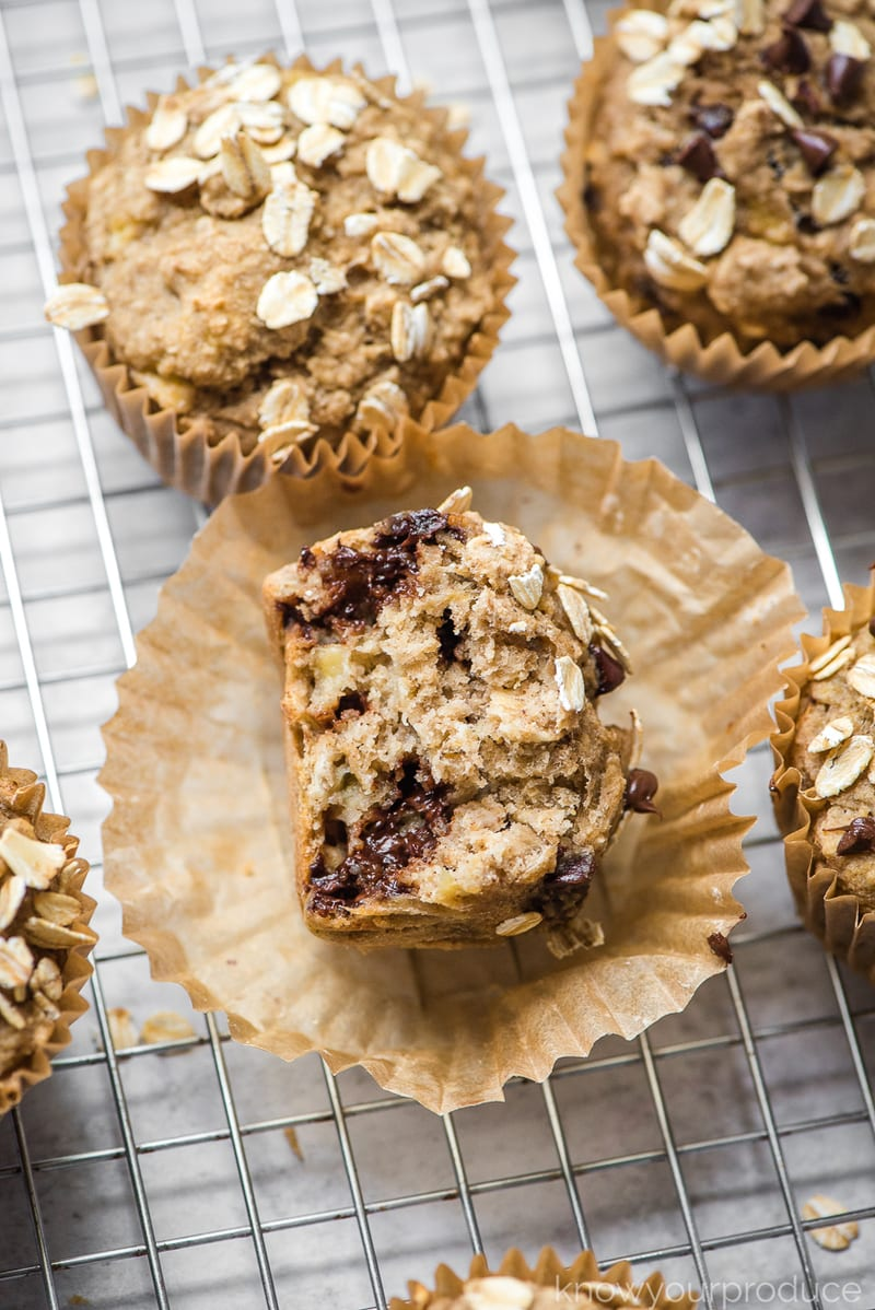 healthy banana muffins with bite taken out