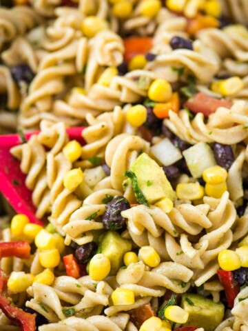 mexican pasta salad with veggies
