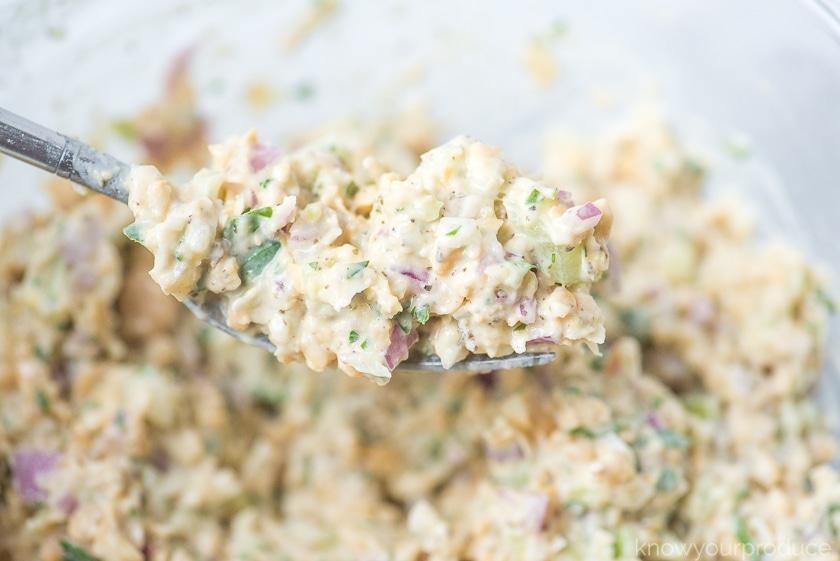 vegan tuna salad on a fork close up