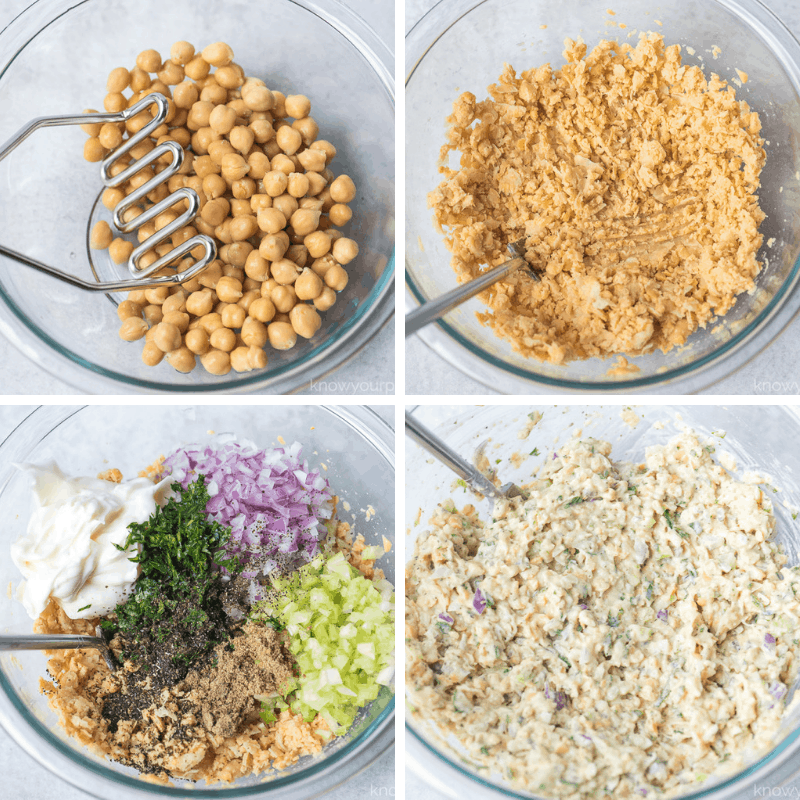 how to make tuna salad with chickpeas step by step photos