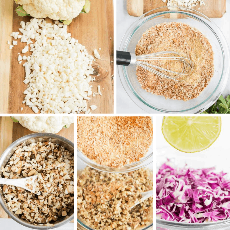 step by step photos making cauliflower tacos