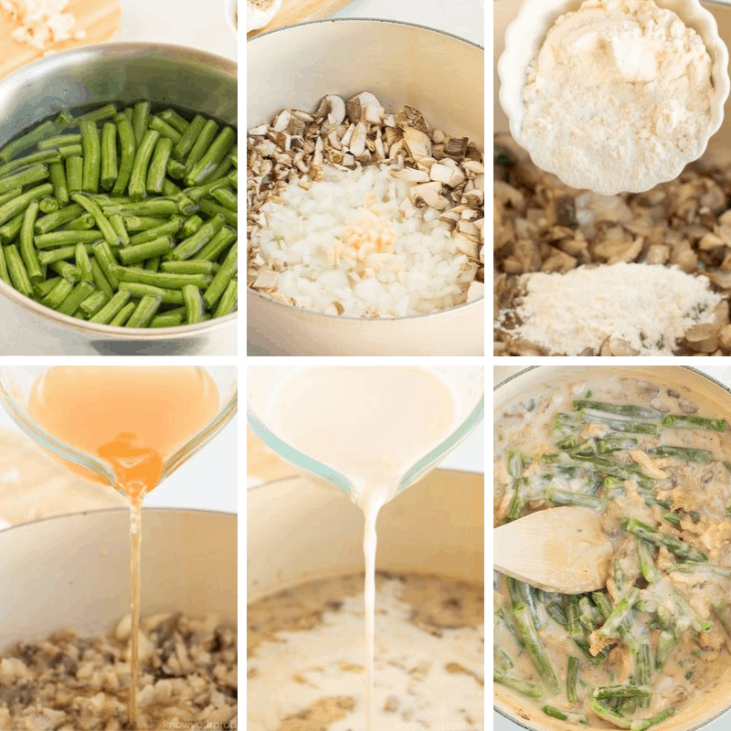 step by step photos how to make vegan green bean casserole