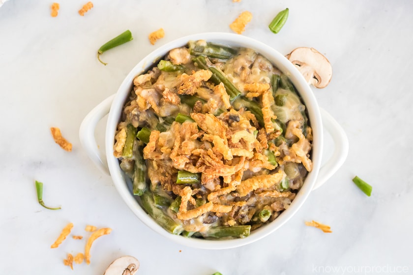vegan green bean casserole in mini cassoulet