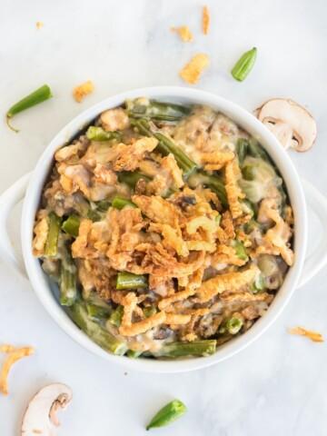 vegan green bean casserole in mini cassoulet dish