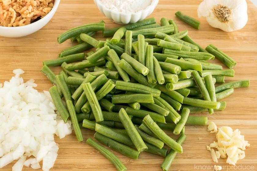 ingredients for vegan green bean casserole