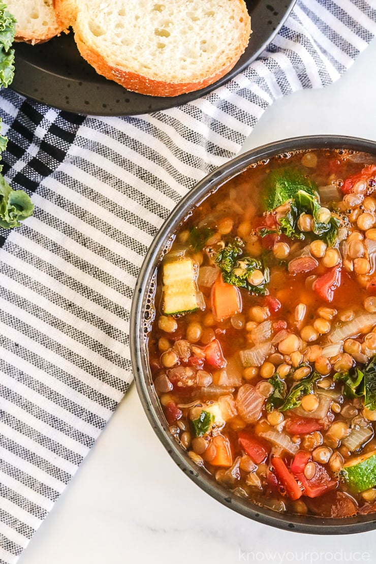 vegan lentil soup recipe in a bowl