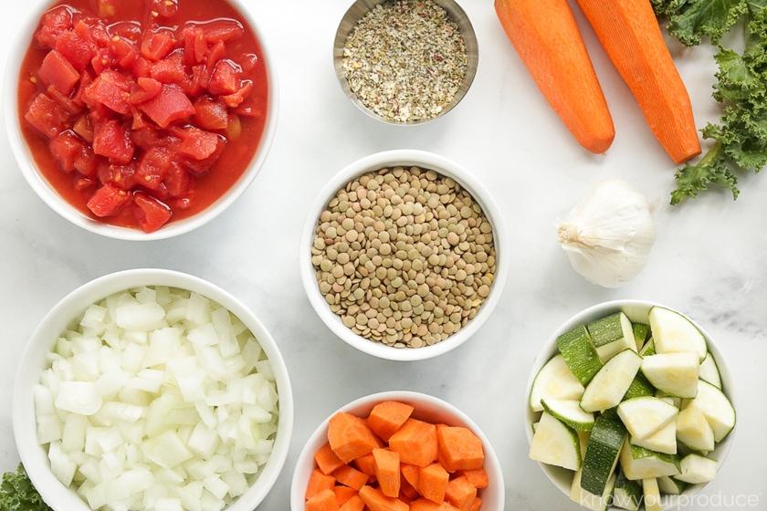 ingredients for lentil soup in bowls