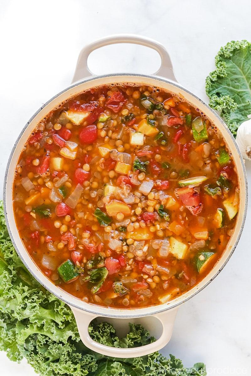 vegan lentil soup in a pot