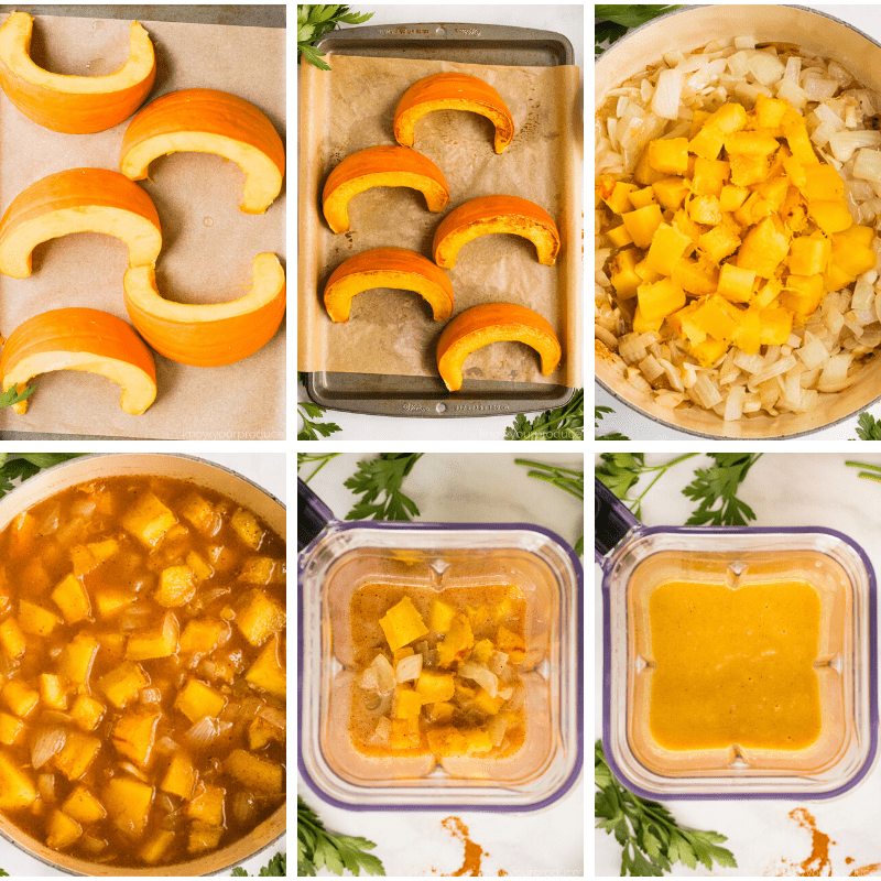 step by step photos how to make pumpkin soup - roasting pumpkin on a sheet pan, chopped pumpkin with other ingredients in a dutch oven then blending the mixture in a blender
