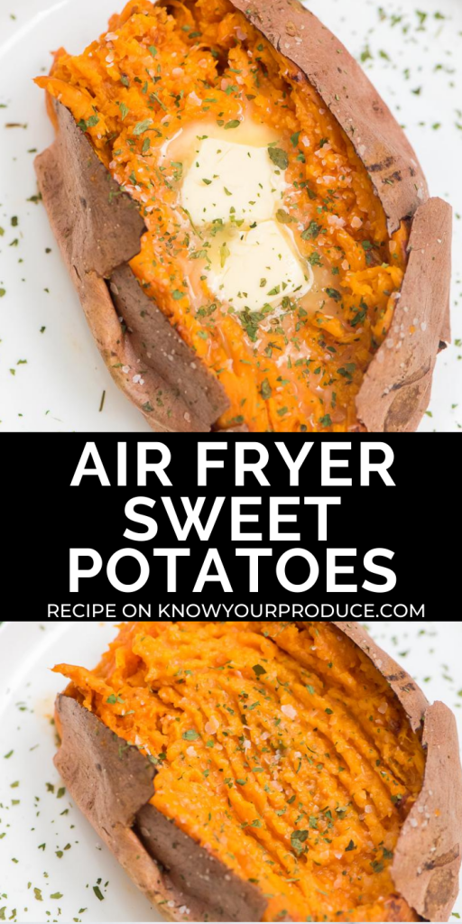 air fryer sweet potato on a white plate pin image