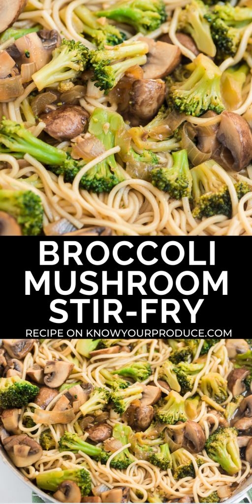 broccoli mushroom stir fry pinterest image with text