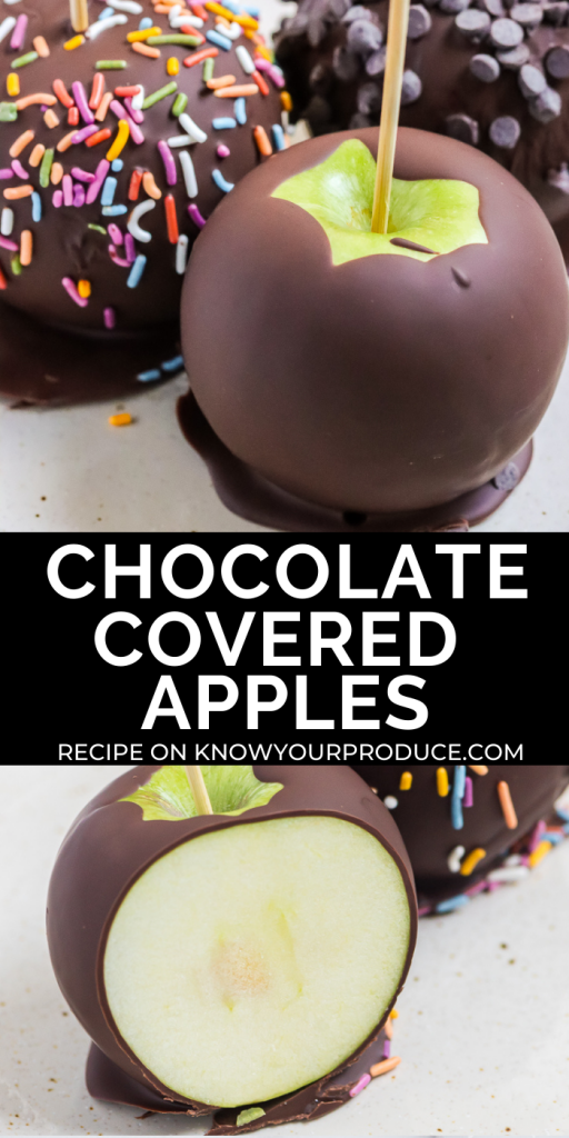 chocolate covered apples pinterest image with text