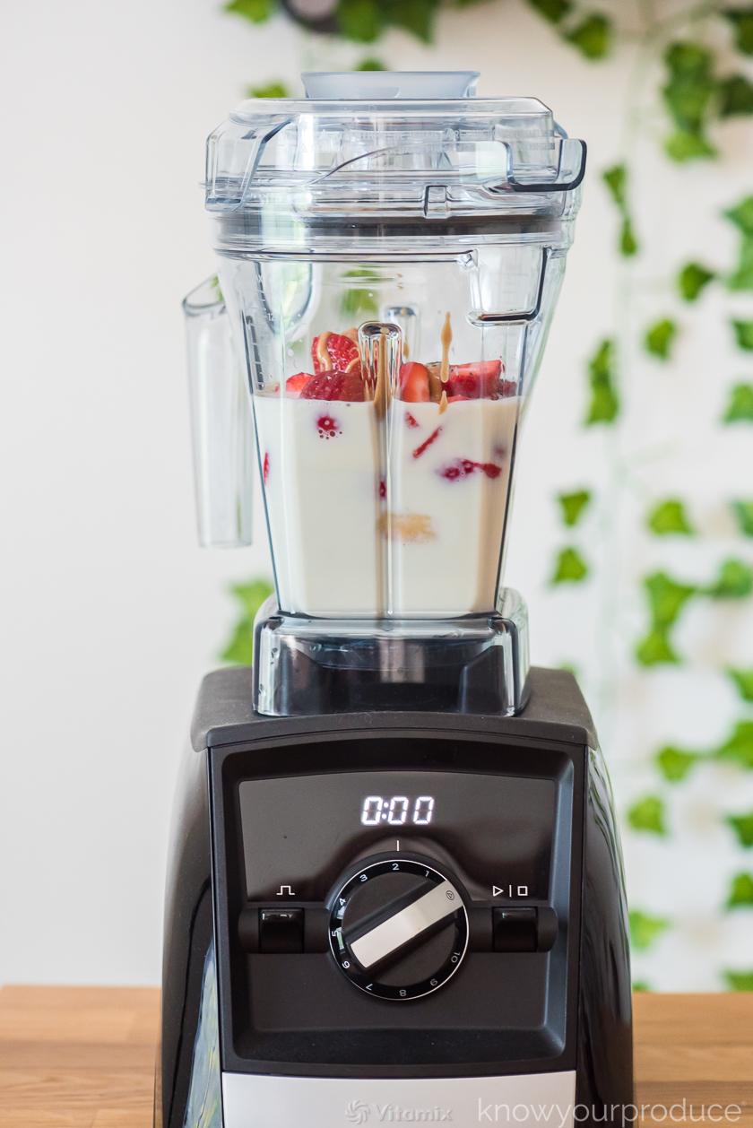 smoothie ingredients in vitamix blender ready to blend