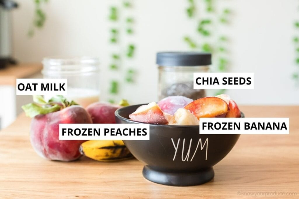 banana peach smoothie ingredients with text