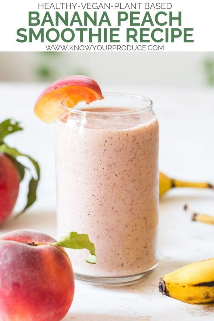 banana peach smoothie pinterest image
