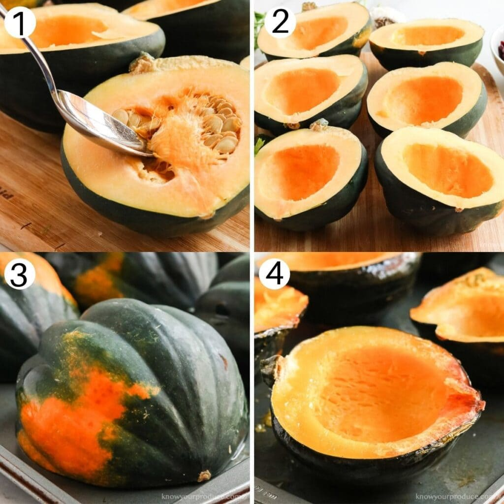 four images showing the process of how to roast acorn squash