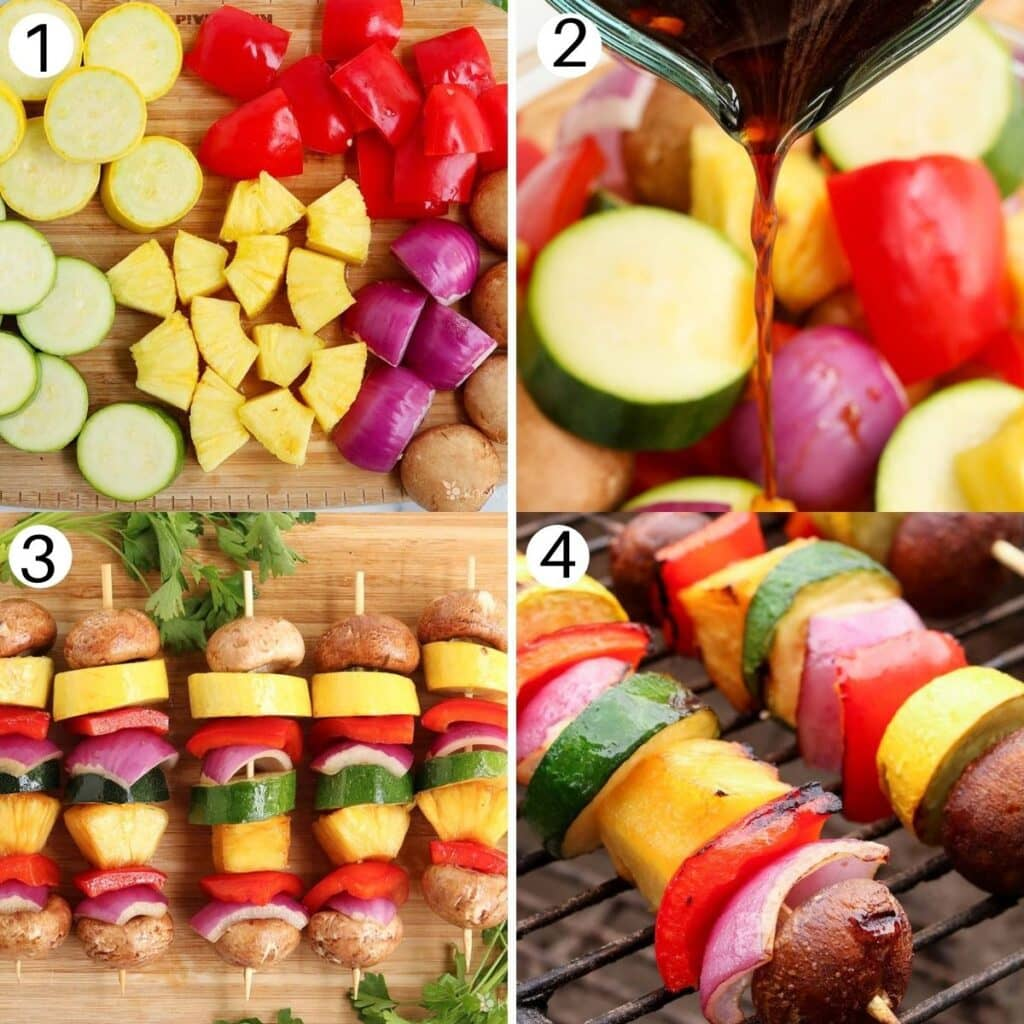 four images showing the process of making vegetable kabobs