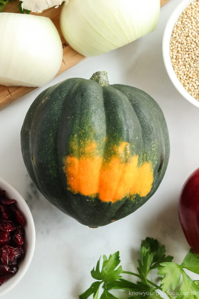 whole acorn squash with random ingredients for stuffing around it