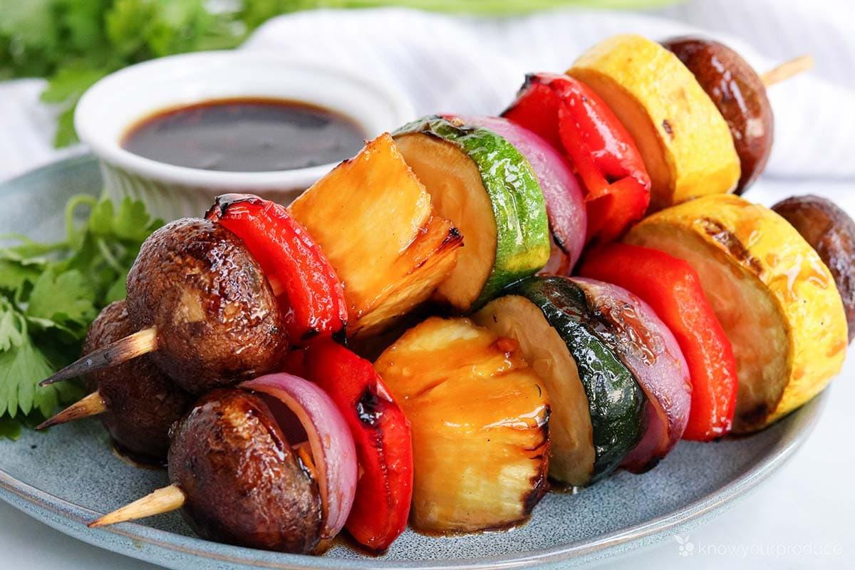 veggie skewers on a plate