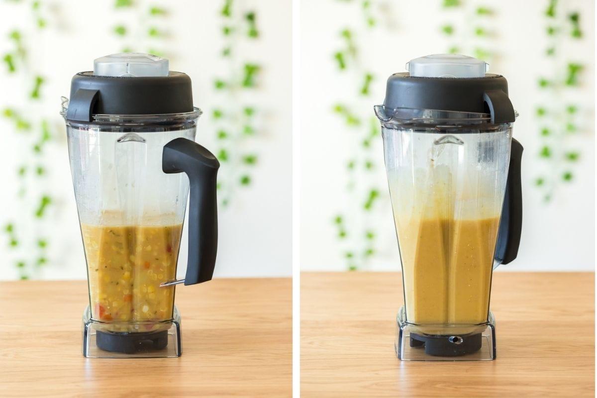 split process photos of corn chowder blended in vitamix blender
