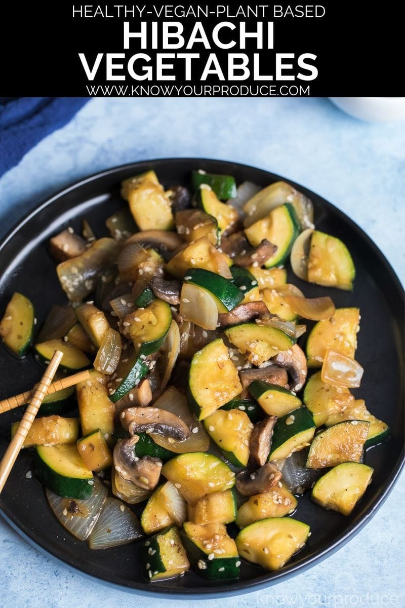 hibachi vegetables on a plate with text on image for pinterest pin