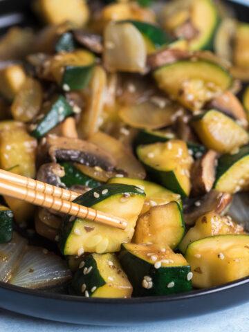hibachi vegetables with chopsticks