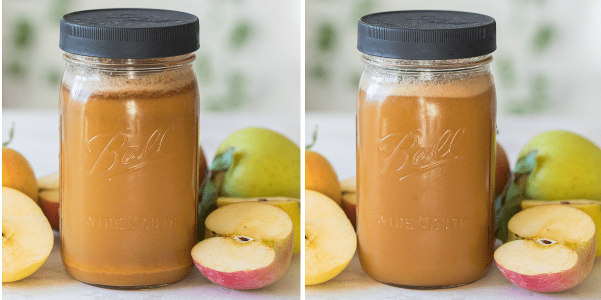 mason jar with fresh juice separated and then shaken comparison photos